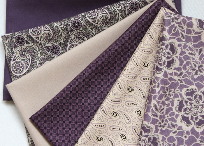 The Heritage Collection of fabrics - in purple and tan colours