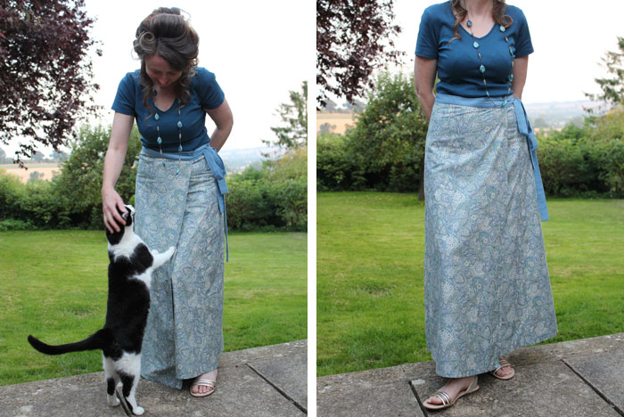 An easy to make summer wrap skirt in a jade printed fabric