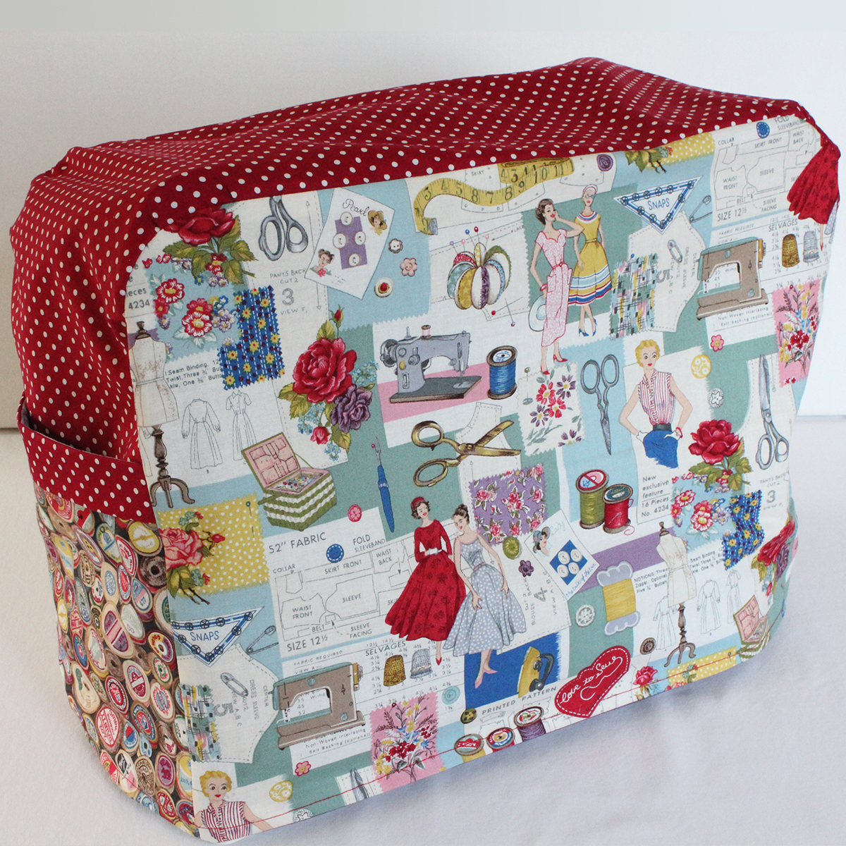 Sewing machine cover vintage style sewing kit for Sewing fabric