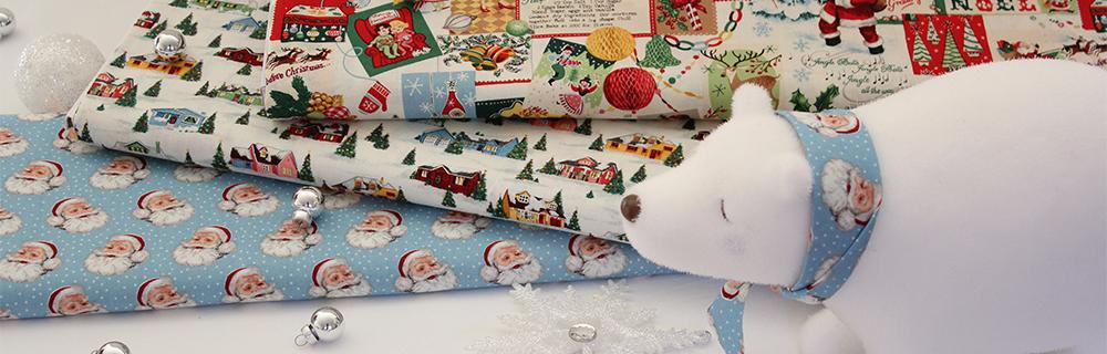 christmas fabrics on bolts