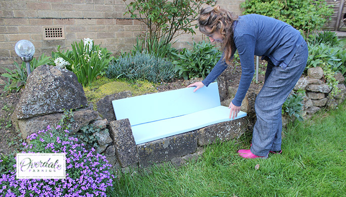 measure and marking out garden seat