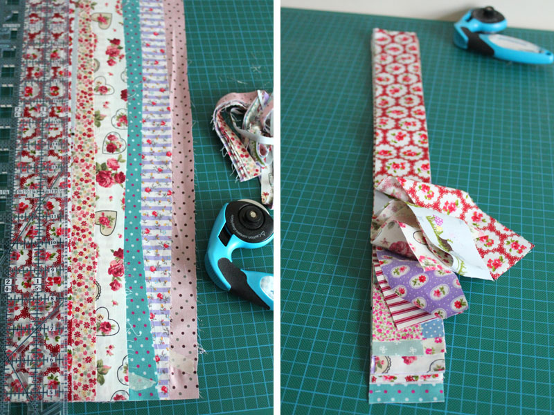 Triming fabrics to create a jelly roll.