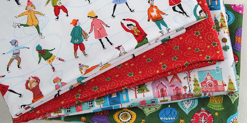 skaters christmas fabric from makower