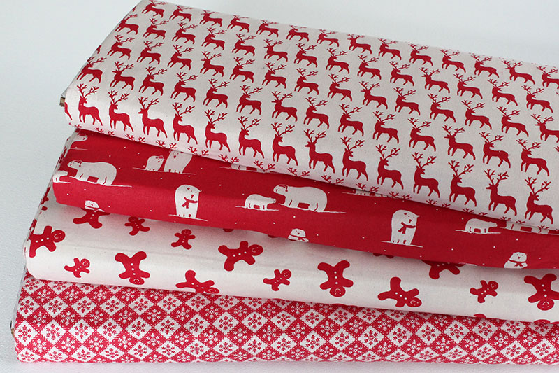 scandi christmas fabric red
