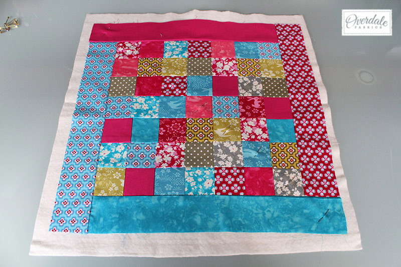 Backing quilted panel with wadding.