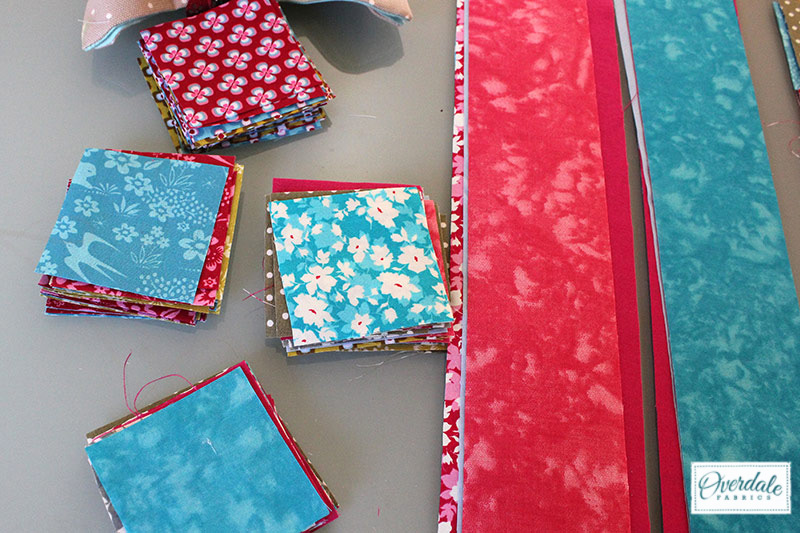 Jelly strips and charm squares for a patchwork panel.